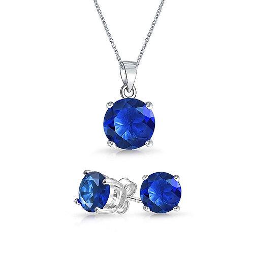 Silver Round Solitaire Necklace Set - Blue Sapphire