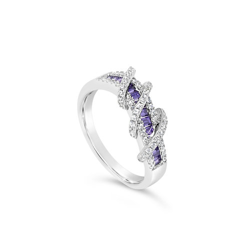 Exotic Twisted Spinel Ring - Amethyst