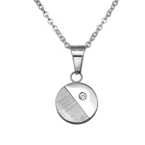 Stainless Steel Round Jeweled Necklace