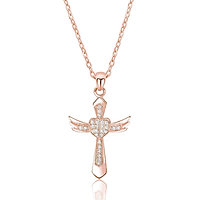Angel Wings Cross Necklace - Rose Gold
