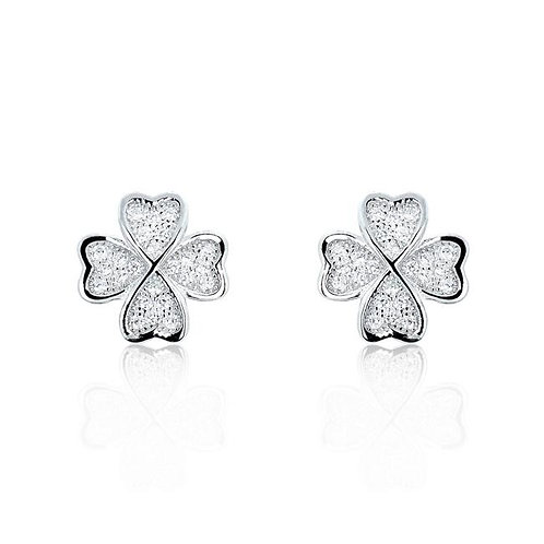 Four Leaf Clover Silver Earrings