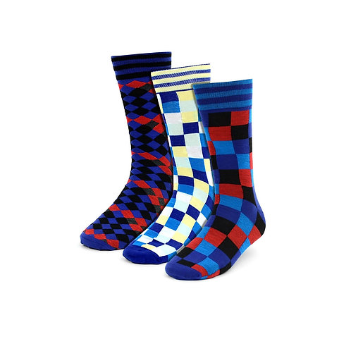Men's Casual Color Square Socks - 3 Pack