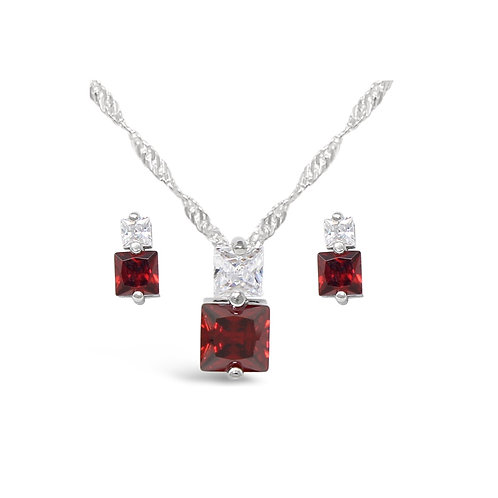 Square CZ Necklace Set - Garnet