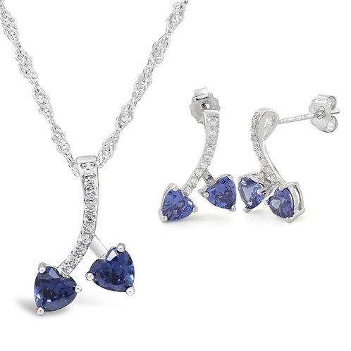 Silver Cherry Hearts Necklace Set - Blue Sapphire