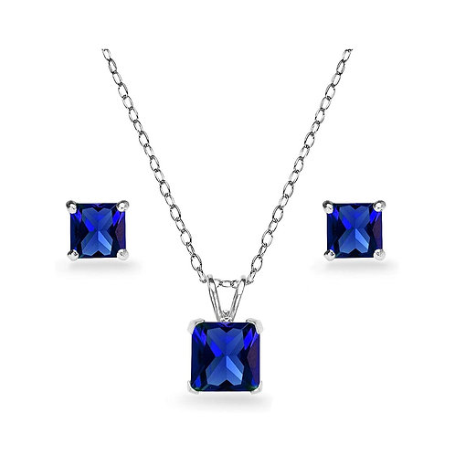Silver Square Solitaire Necklace Set - Blue Sapphire