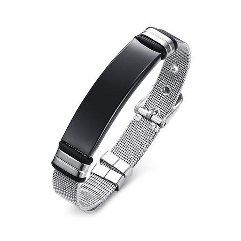 Stainless Steel Mesh Tag Bracelet - Black Tag