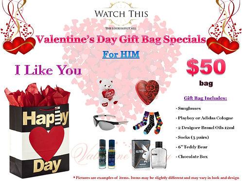 "Men's ""I Like You"" Valentine's Day Gift Bag"