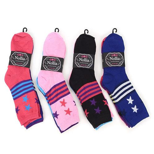 Women's Assorted Star Crew Socks - 3 Pairs