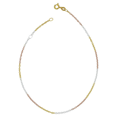 Sterling Silver Tricolor Cable Chain 1.2mm