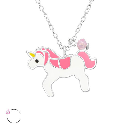 Crystal Unicorn Necklace - Pink