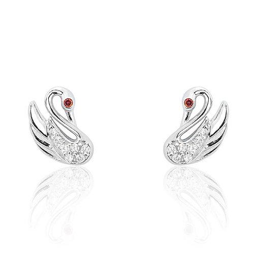 Lovable Silver Swan Earrings