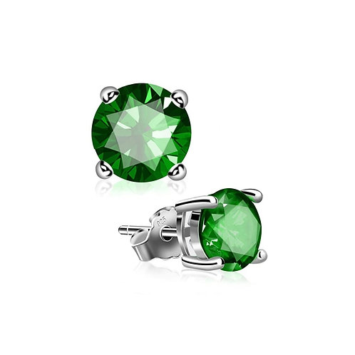 Silver Round Birthstone Earrings - May (Emerald)