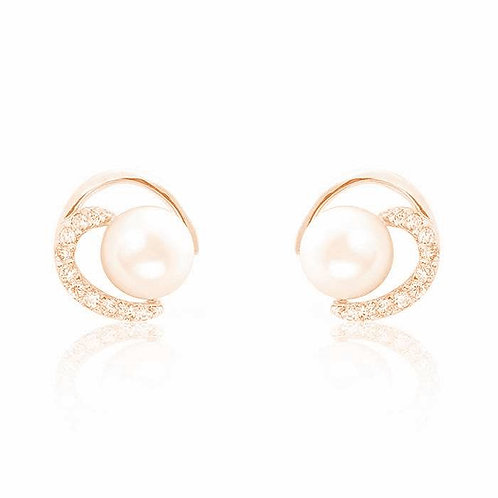 Gorgeous Circle Pearl CZ Earrings - Gold