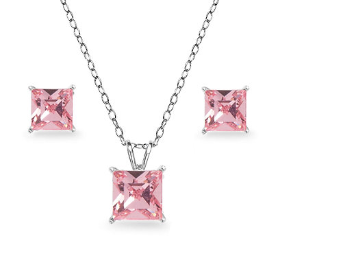 Silver Square Solitaire Necklace Set - Pink Tourmaline