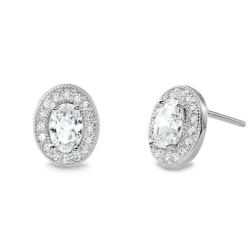 Oval Cut Halo Earrings - Silver
