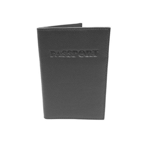 RFID Genuine Leather Passport Wallet - Black