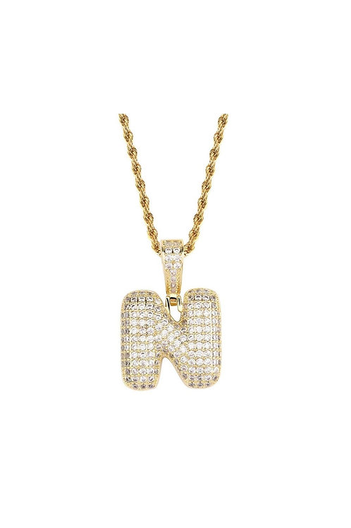"Stainless Steel Bubble Initial ""N"" - Gold"