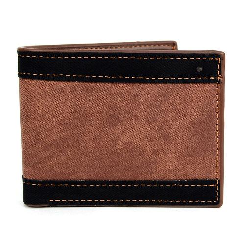 LB Striped Bi-Fold Wallet - Brown