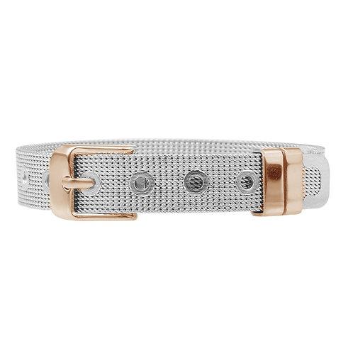 Stainless Steel Mesh Bracelet - Silver/Rose