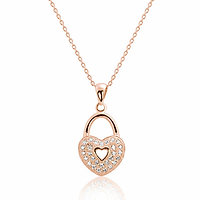 Romantic Heart Lock Necklace - Rose Gold