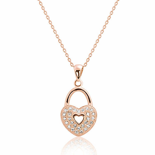 Romantic Heart Lock Necklace - Rose Gold