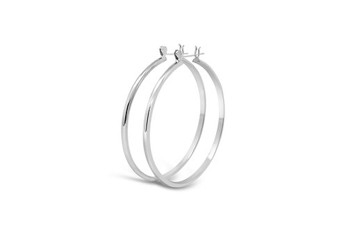 Silver Wedding Band Hoops - 3x50mm