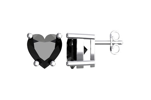 Silver Heart Birthstone Earrings - Black Onyx