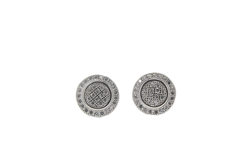 Circle CZ Earrings - Silver