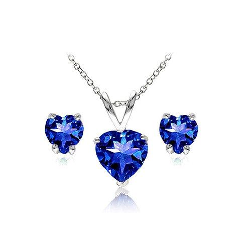 Silver Heart Necklace Set - Blue Sapphire