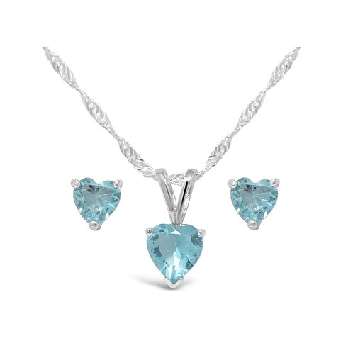 Silver Heart Necklace Set - Aquamarine