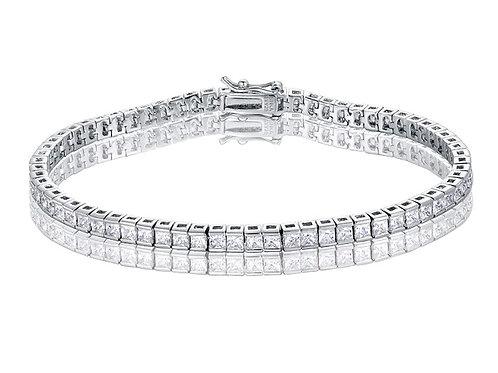Silver Ice Cube Tennis Bracelet - Silver