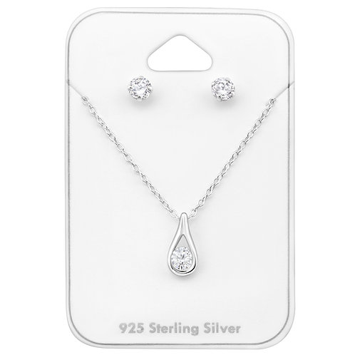Silver Tear Drop Set - Clear CZ