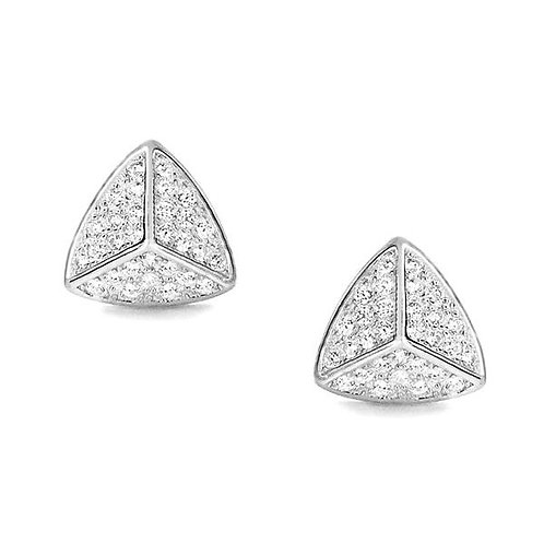Triangle CZ Silver Earrings