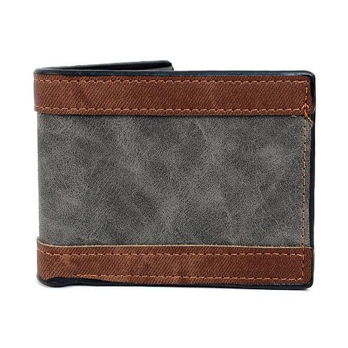 LB Striped Leather Bi-Fold Wallet - Gray