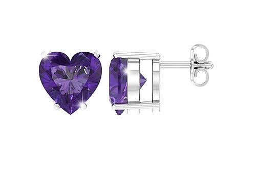 Silver Heart Birthstone Earrings - February (Amethyst)