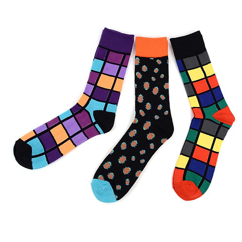 Men's Assorted Casual Fancy Colorful Square Socks - 3 Pair