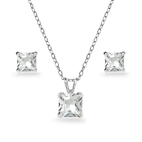 Silver Square Solitaire Necklace Set - Clear Zirconia