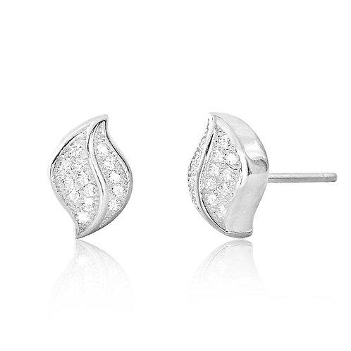 CZ Leaf Silver Earrings