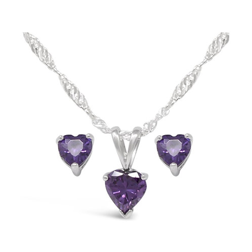 Silver Heart Necklace Set - Amethyst
