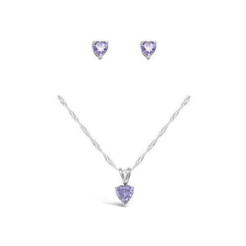 Silver Heart Necklace Set - Alexandrite