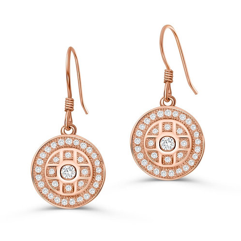 Shield Pattern Drop Earrings - Rose Gold