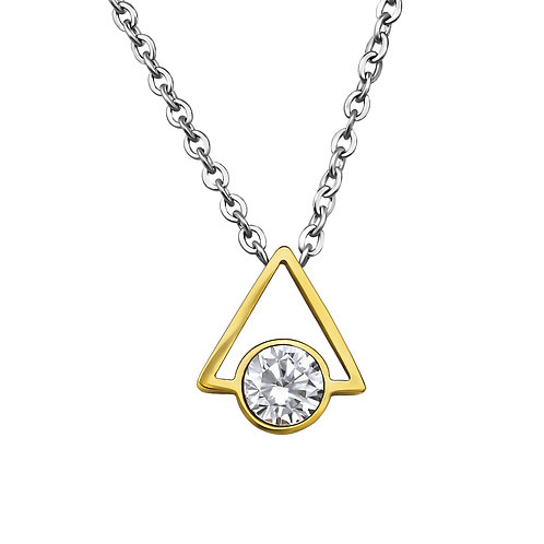 Stainless Steel Triangle Geometric Necklace - Gold