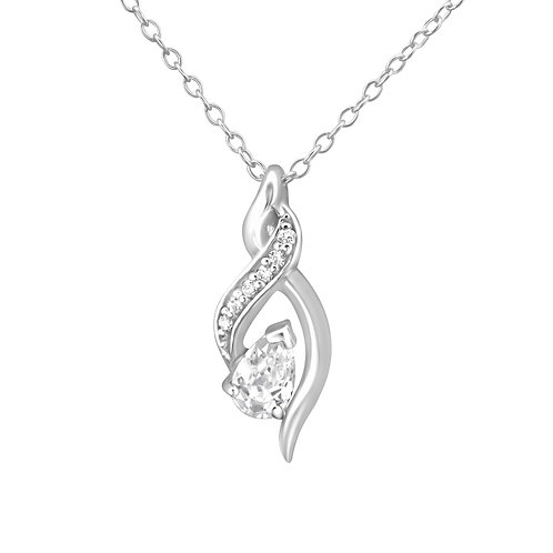 Silver Tear Drop Necklace - Clear CZ