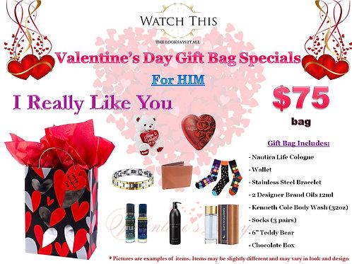 "Men's ""I REALLY Like You"" Valentine's Day Gift Bag"