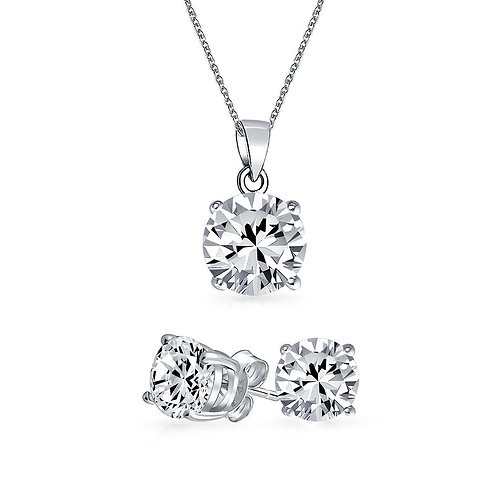 Silver Round Solitaire Necklace Set - Clear Zirconia