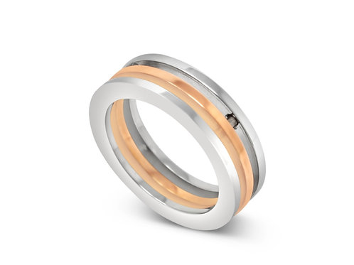 Connect 3 Ring - Rose Gold