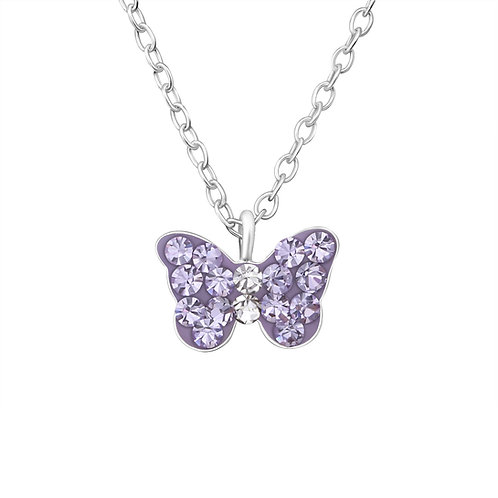 Crystal Butterfly Necklace - Purple