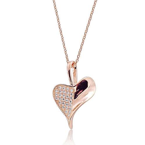 Heart Leaf Necklace - Rose Gold
