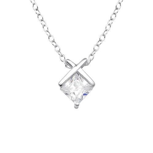 Silver Geometric Necklace - Clear CZ