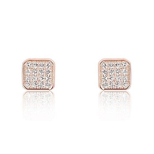 Sparkling Square Earrings - Rose Gold